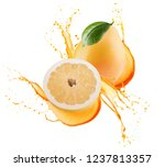 pomelo with half of pomelo in... | Shutterstock . vector #1237813357