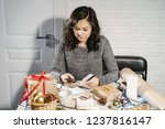 young woman making online... | Shutterstock . vector #1237816147