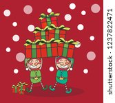 couple elf with gifts  merry... | Shutterstock .eps vector #1237822471