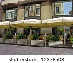 summery cafe in old part of... | Shutterstock . vector #12378508