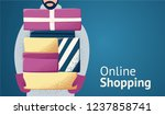 man with christmas gifts.... | Shutterstock .eps vector #1237858741
