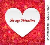 white paper heart valentines... | Shutterstock .eps vector #123787024