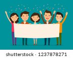 friends congratulate on holiday.... | Shutterstock .eps vector #1237878271