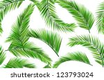 seamless repeat coconut leaves | Shutterstock .eps vector #123793024