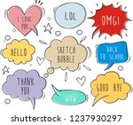 a collection of comic  speech... | Shutterstock .eps vector #1237930297
