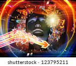 Android Dream series. Background design of human model, numbers and design elements on the subject of science, information and modern technology - stock photo