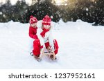 little girl and boy enjoy a... | Shutterstock . vector #1237952161