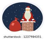 cartoon funny santa claus on...   Shutterstock .eps vector #1237984351