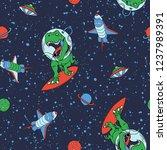 astronaut dinosaur vector print ... | Shutterstock .eps vector #1237989391