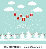 cute winter holiday background... | Shutterstock .eps vector #1238017234