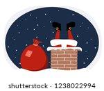 santa claus climbs into the... | Shutterstock .eps vector #1238022994