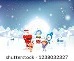 merry christmas  santa claus ... | Shutterstock .eps vector #1238032327