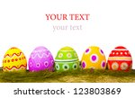 colorful easter eggs on white... | Shutterstock . vector #123803869