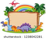 many dinosaur on wooden banner... | Shutterstock .eps vector #1238042281
