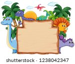 many dinosaur on wooden banner... | Shutterstock .eps vector #1238042347