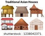 set of traditional house... | Shutterstock .eps vector #1238042371