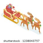 isometric santa claus... | Shutterstock . vector #1238043757