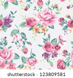vintage tropical flower pattern ... | Shutterstock .eps vector #123809581