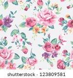 vintage tropical flower pattern ...   Shutterstock .eps vector #123809581