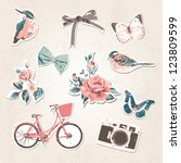 Stock vector vintage things set birds bows flowers bike camera butterflies on grunge background 123809599