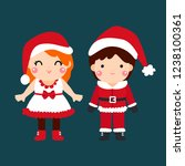 cute cartoon christmas concept. | Shutterstock .eps vector #1238100361