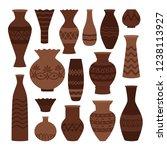 greek clay pots. ancient vase... | Shutterstock .eps vector #1238113927