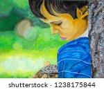 a sad little boy standing in... | Shutterstock . vector #1238175844
