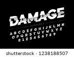 damaged font design  alphabet... | Shutterstock .eps vector #1238188507