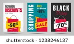 sale posters set with big... | Shutterstock .eps vector #1238246137