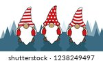 three cute christmas gnomes... | Shutterstock .eps vector #1238249497