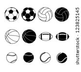ball,baseball,basketball,black,button,collection,design,entertainment,eps10,football,graphic,icon,illustration,information,lines