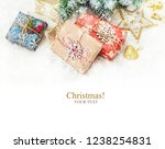 christmas background. happy new ... | Shutterstock . vector #1238254831