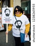 London, United Kingdom, November 17th 2018:- Free Lula placard at the Stand Up To Racism march through central London from the BBC to near Downing Street in Whitehall - stock photo