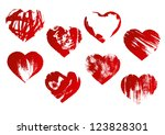 red paint hearts | Shutterstock .eps vector #123828301