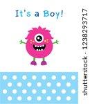 cute monster baby boy arrival...   Shutterstock .eps vector #1238293717