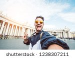 Stock photo selfie of a beatiful caucasian man tourist in rome at vatican city on vacation 1238307211