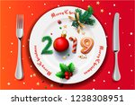 merry christmas and happy new... | Shutterstock .eps vector #1238308951