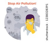 stop air pollution. man with... | Shutterstock .eps vector #1238328391