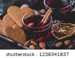 mulled wine with cinnamon... | Shutterstock . vector #1238341837