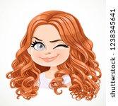beautiful cheerily wink cartoon ... | Shutterstock .eps vector #1238345641