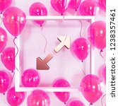 realistic fuchsia balloons with ... | Shutterstock . vector #1238357461