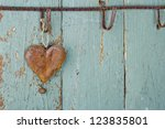 Rusty Old Heart On Wooden...