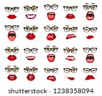 woman with glasses facial... | Shutterstock . vector #1238358094