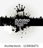 grunge banner with an inky... | Shutterstock .eps vector #123836071
