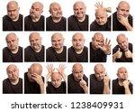 set of images of a bald man... | Shutterstock . vector #1238409931