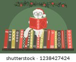 cat in christmas hat reading...   Shutterstock .eps vector #1238427424