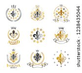 royal symbols lily flowers...   Shutterstock .eps vector #1238435044