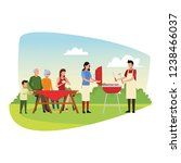 family barbecue picnic | Shutterstock .eps vector #1238466037
