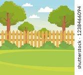 garden with fence scenery | Shutterstock .eps vector #1238466094