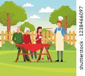 family barbecue picnic | Shutterstock .eps vector #1238466097